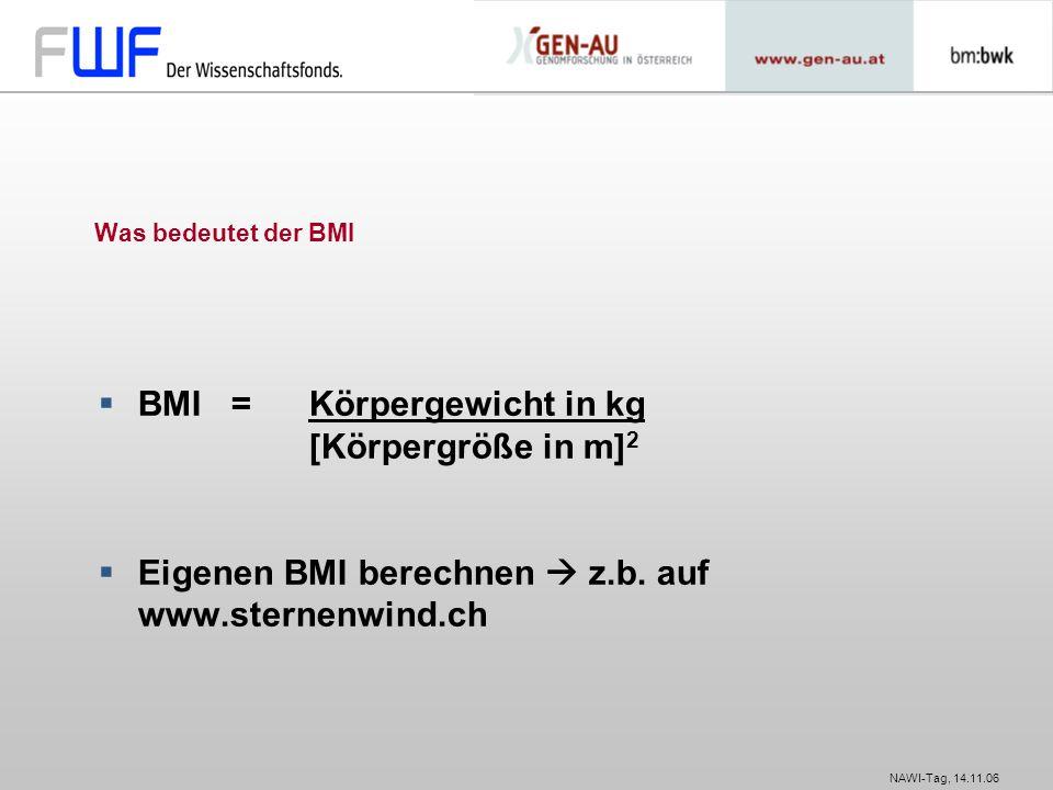 BMI = Körpergewicht in kg [Körpergröße in m]2